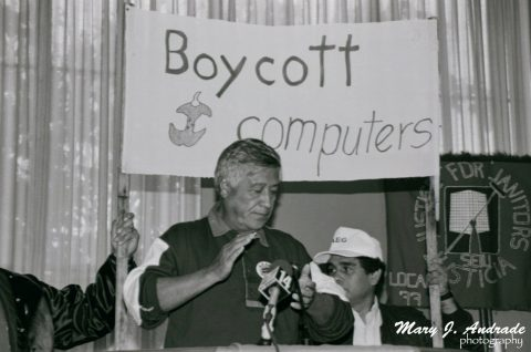 CESAR CHAVEZ SAYS, – BOYCOTT APPLE COMPUTER