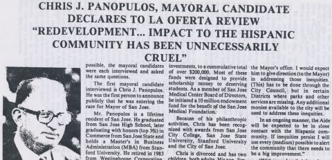 """Chris J. Panopulos, Mayoral Candidate: """"Redevelopment… impact to the Hispanic community has been unnecessarily cruel"""""""