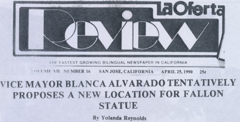 Vice Mayor Blanca Alvarado tentatively proposes a new location for Fallon Statue