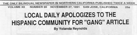 "LOCAL DAILY APOLOGIZES TO THE HISPANIC COMMUNITY FOR ""GANG"" ARTICLE"