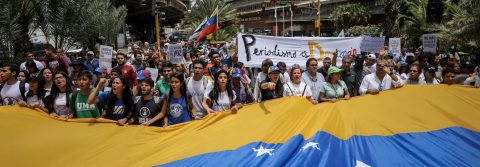 Venezuelan journalists march in Caracas for freedom of expression
