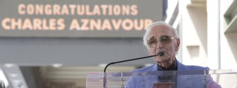 Charles Aznavour unveils his star on Hollywood Walk of Fame