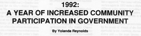 1992; A YEAR OF INCREASED COMMUNITY PARTICIPATION IN GOVERNMENT