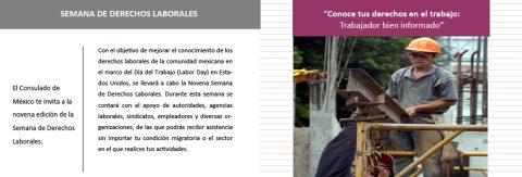 FORO CONSULAR – El Consulado te Atiende (Consulmex San José te atiende, contigo…)  Inicia la 9ª. Semana de Derechos Laborales: por un trabajador bien informado