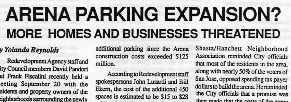 ARENA PARKING EXPANSION?  MORE HOMES AND BUSINESSES THREATENED