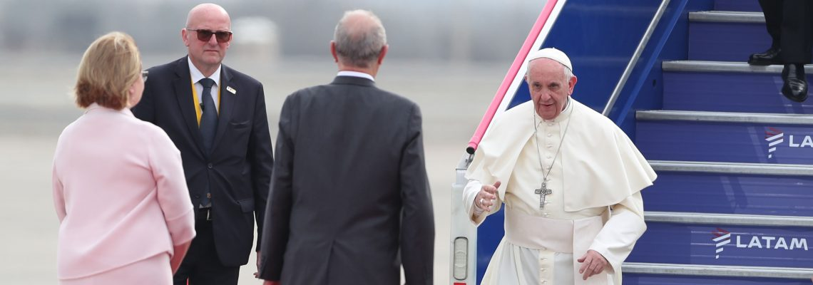 Pope Francis arrives in Peru for 3-day official visit