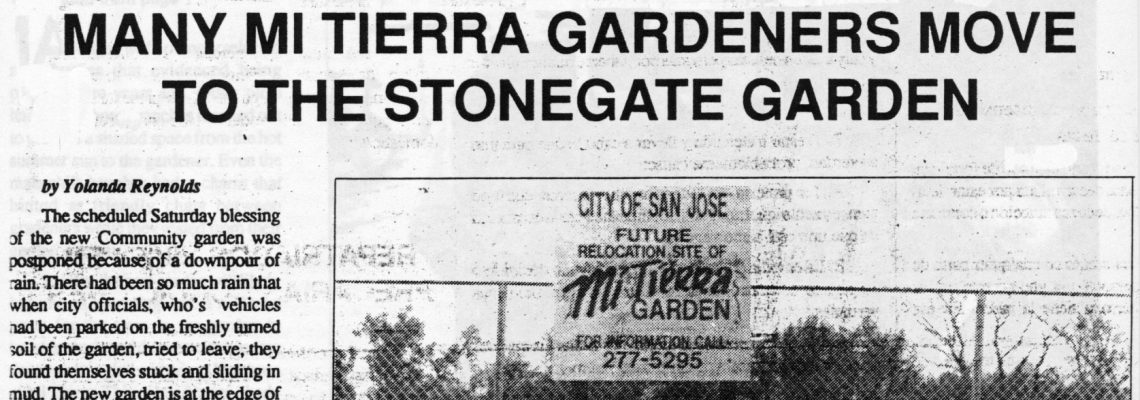 Many Mi Tierra Gardeners move to the Stonagate Garden