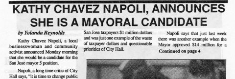 KATHY CHAVEZ NAPOLI ANNOUNCES SHE IS A MAYORAL CANDIDATE
