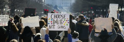 Students demand more gun control on 1-month anniversary of US school shooting