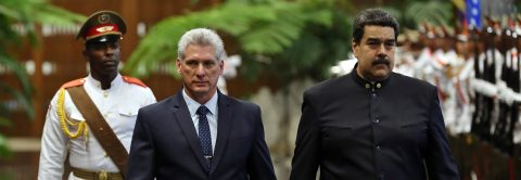 Diaz-Canel meets with Nicolas Maduro at Cuba's Palace of the Revolution