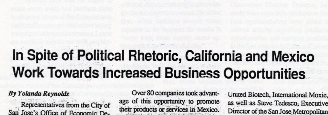 In Spite of Political Rhetoric, California and Mexico Work Towards Increased Business Opportunities