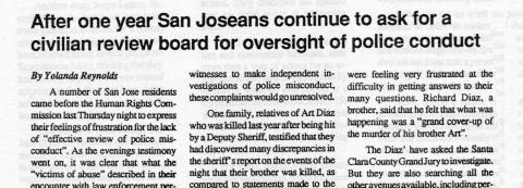 After one year San Joseans continue to ask for a civilian review board for oversight of police conduct