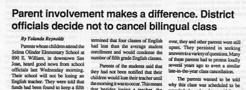 Parent involvement makes a difference. District officials decide not to cancel bilingual class