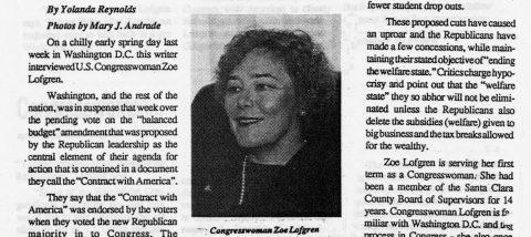 Congresswoman Lofgren faces tough challenges as legislator, mother and a woman