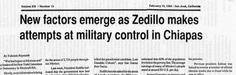 New factors emerge as Zedillo makes attempts at military control in Chiapas
