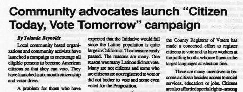"""Community advocates launch """"Citizen Today, Vote Tomorrow"""" campaign"""
