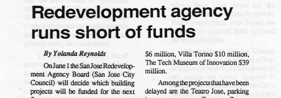 Redevelopment agency runs short of funds