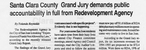 Santa Clara County Grand Jury demands public accountability in full from Redevelopment Agency