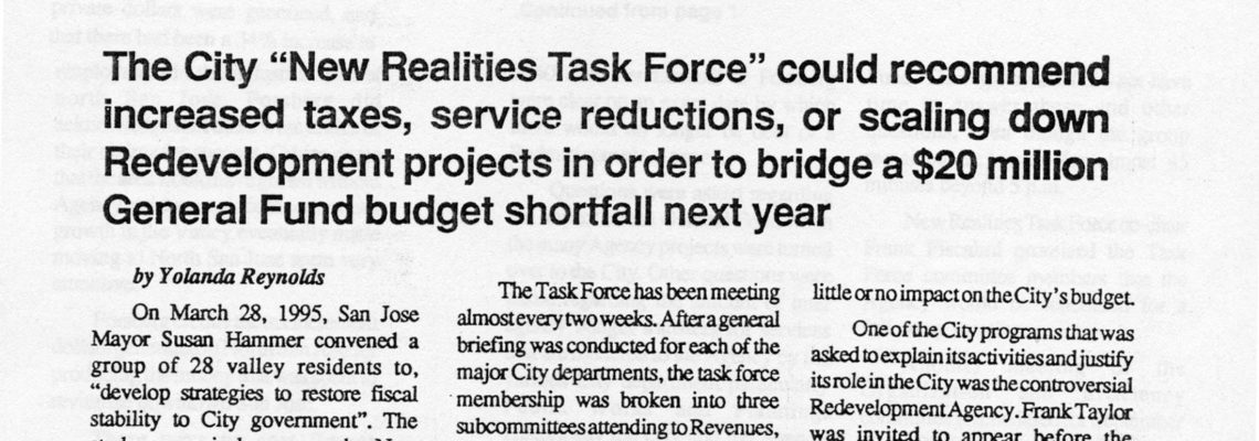 """The City """"New Realities Task Force"""" could recommend increased taxes, service reductions or scaling down Redevelopment projects"""