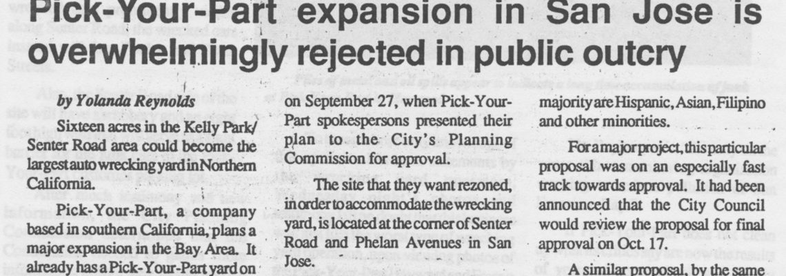 Pick-Your-Part expansion in San Jose is overwhelmingly rejected in public outcry