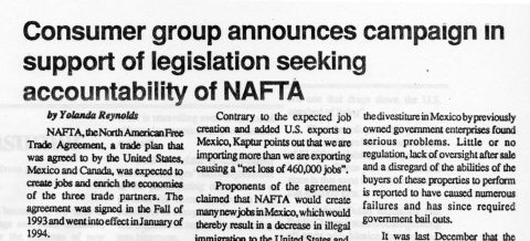 Consumer group announces campaign in support of legislation seeking accountability of NAFTA