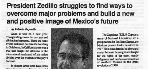 President Zedillo struggles to find ways to overcome major problems and build a new and positive image of Mexico's future