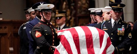 Coffin of former US President George HW Bush returns to Texas for a final family farewell