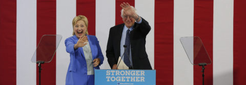 Clinton says together with Sanders she will beat Trump
