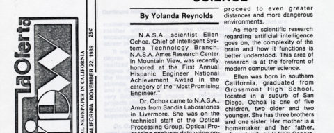 Ellen Ochoa, N.A.S.A. Scientist Conducting Research in the Forefront of Computer Science