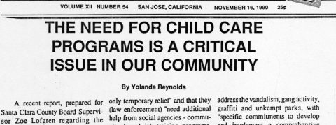 THE NEED FOR CHILD CARE PROGRAMS IS A CRITICAL ISSUE IN OUR COMMUNITY