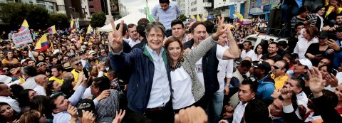 Crowd gathers at Ecuador's election council to await final election results
