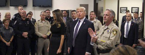 Trump, in Las Vegas, declines to talk about gun violence