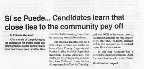 Sí se Puede… Candidates learn that close ties to the community pay off