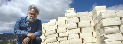 Artist builds a wall of cheese on US-Mexico border