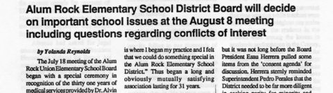 Alum Rock Elementary School District Board will decide on important school issues at the August 8 meeting including questions regarding conflicts of Interest
