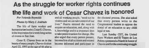 As the struggle for worker rights continues the life and work of César Chávez is honored
