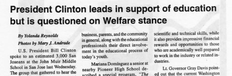 President Clinton leads in support of education but is questioned on Welfare stance