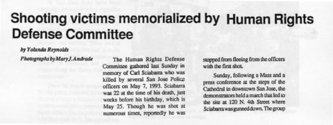 Shooting victims memorialized by Human Rights Defense Committee